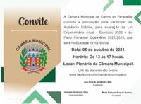 Câmara Municipal convida a população carmense para Audiência Pública sobre Orçamento Municipal