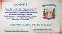 Nona Reunião Ordinária da Câmara Municipal acontecerá nesta quinta, 13 de Junho